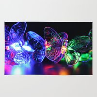rave Area & Throw Rugs featuring Rave Butterflies by Laurais Arts