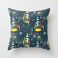 skiing Throw Pillows featuring Retro Skiing  by beach please
