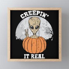 Creepin' It Real Funny E.T. Peace Sign Pumpkin Framed Mini Art Print