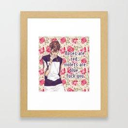 Roses, Violets and Fucks Framed Art Print