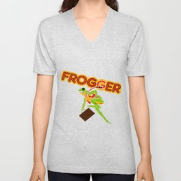 Frogger Cabinet Art Unisex V-Neck