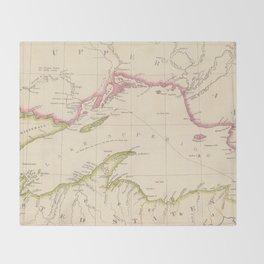 Vintage Map of Lake Superior (1832) Throw Blanket