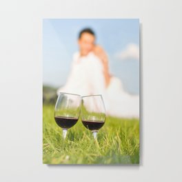 Two wineglasses with red wine in grass Metal Print