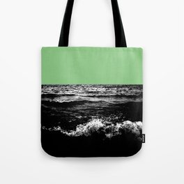 Black Wave w/Mint Green Horizon Tote Bag