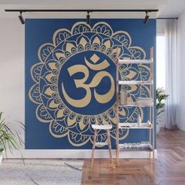 Blue and Gold Ohm Mandala Wall Mural