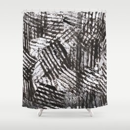 Black gray abstract lines painting Shower Curtain