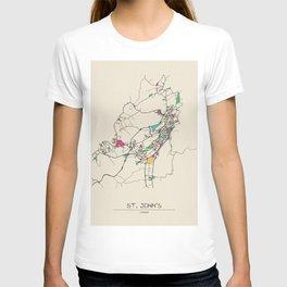 Colorful City Maps: St. John's, Canada T-shirt