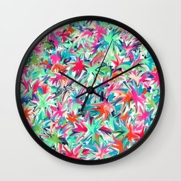 Colorful abstract flowers pattern Wall Clock