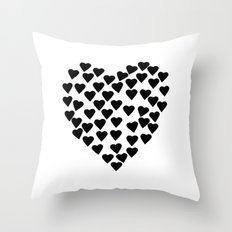 Hearts Heart Black and White Throw Pillow