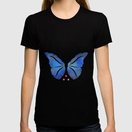 Deonioro - deep blue night butterfly with pearls T-shirt