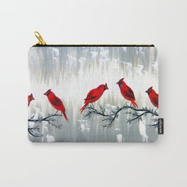 Grey art with REd cardinals Carry-All Pouch