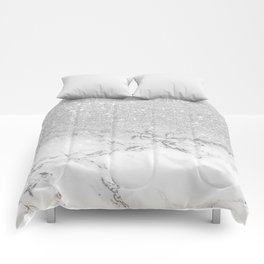 Modern faux grey silver glitter ombre white marble Comforters