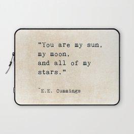 EE Cummings, Sun Moon Stars Quote, Love Laptop Sleeve