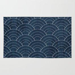 Navy Sashiko waves pattern Rug