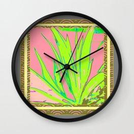 Chartreuse Plant Foliage Pink-Grey Patterns Wall Clock