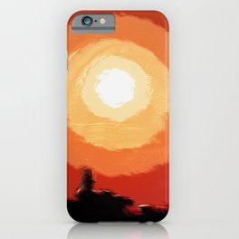 Stunning fiery sunset in the city, silhouettes of the buildings iPhone Case