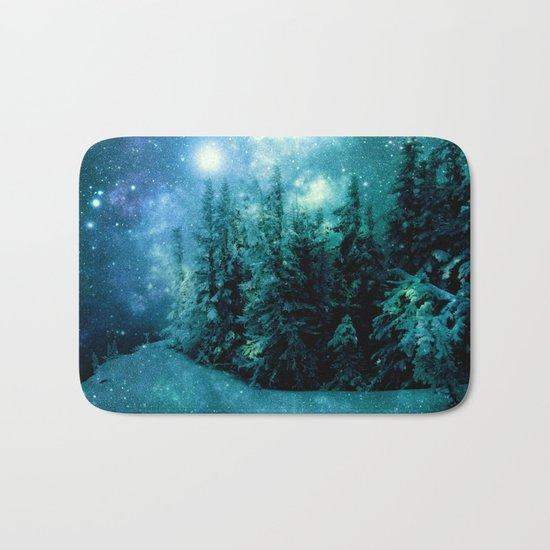 Galaxy Winter Forest Blue Teal Bath Mat