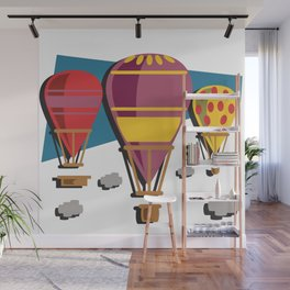Balloon flight flying in the sky with clouds shirt Wall Mural