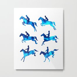 Watercolor Showjumping Horses (Blue) Metal Print