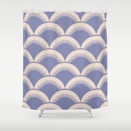Japanese Fan Pattern Lavender and Beige Shower Curtain