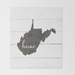 West Virginia is Home - Charcoal on White Wood Throw Blanket