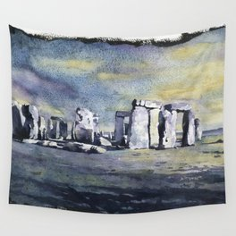Fine art watercolor painting of prehistoric monument of Stonehenge silhouetted at sunset Wall Tapestry