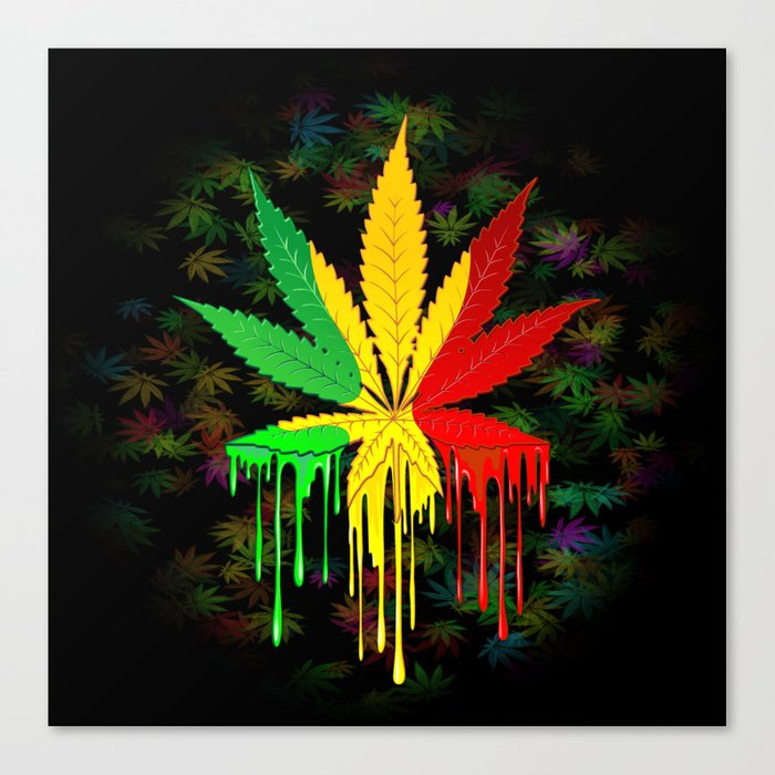 Marijuana Leaf Rasta Colors Dripping Paint Canvas Print By