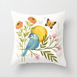 Summer Song Bird Throw Pillow