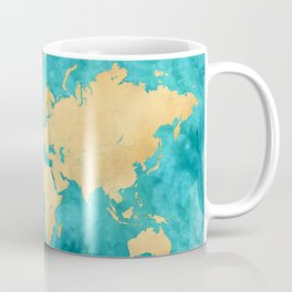 """Teal watercolor and gold world map with countries and states """"Lexy"""" Coffee Mug"""