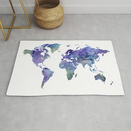 Watercolor World Map Silhouette Rug