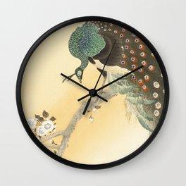 Peacock on a cherry blossom tree (1900-1930) by Ohara Koson (1877-1945) - Japanese art Wall Clock
