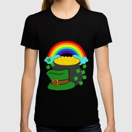 Pot Of Gold Hat And Rainbow Clover St Patricks Day T-shirt