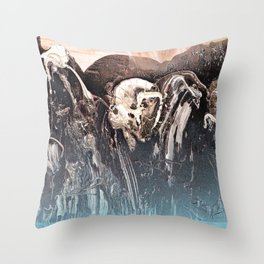 Blue Glow // abstract texture painting modern Throw Pillow