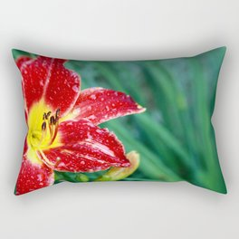 Lily Rain Drops in Red - A macro image with bokah Rectangular Pillow