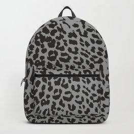 Black & Gray Leopard Print Backpack