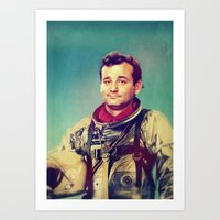 murray Art Prints featuring Space Murray by rubbishmonkey