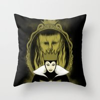 evil queen Throw Pillows featuring Evil Queen by Pigboom Art