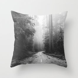 Redwood Forest Adventure Black and White - Nature Photography Throw Pillow