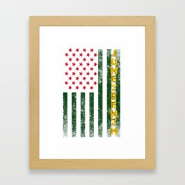 Juneteenth Freedom Day American Flag with African Colors Framed Art Print