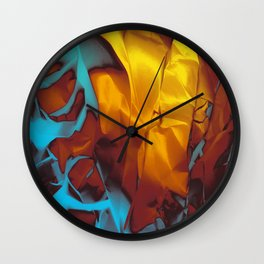 Cruising to Calisto. Orange and Teal Abstract. Wall Clock