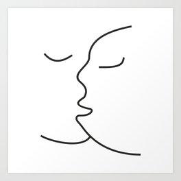 Minimalist Line Drawing Kiss Canvas #society6 #decor #buyart #artprint Art Print