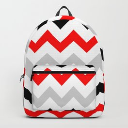 Chevron grey red black Backpack
