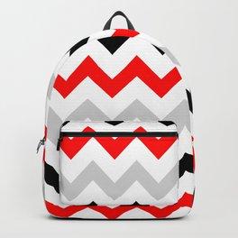 Chevron grey red black Backpack