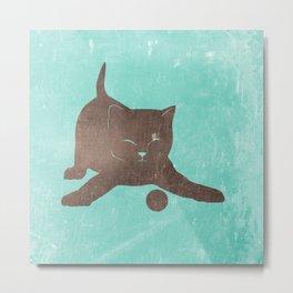 Happy kitten plays with a ball - minimalist illustration Metal Print