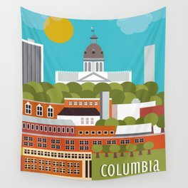 Columbia, South Carolina - Skyline Illustration by Loose Petals Wall Tapestry
