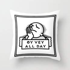 Oy Vey dude blk Throw Pillow