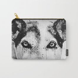 lying dog close-up view wsbw Carry-All Pouch