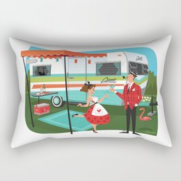 Happy Campers Vintage Travel Trailers, Caravans, Campers and Glamping Art Rectangular Pillow