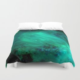Teal Blue Indigo Sky, Stars, Space, Universe, Photography Duvet Cover