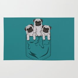 Pocket Pugs_Teal Rug